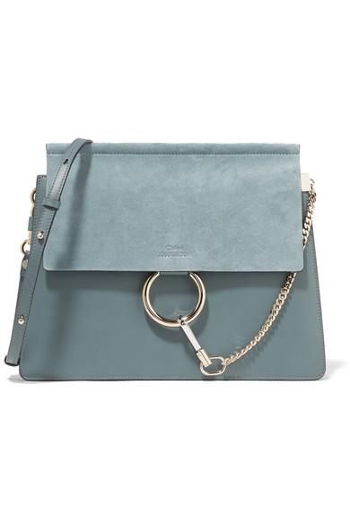 Chloé - Faye Medium Leather And Suede Shoulder Bag - Blue