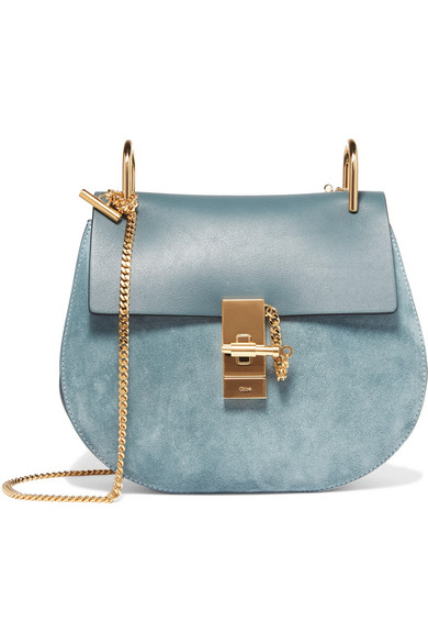 Chloé - Drew Small Leather And Suede Shoulder Bag - Teal