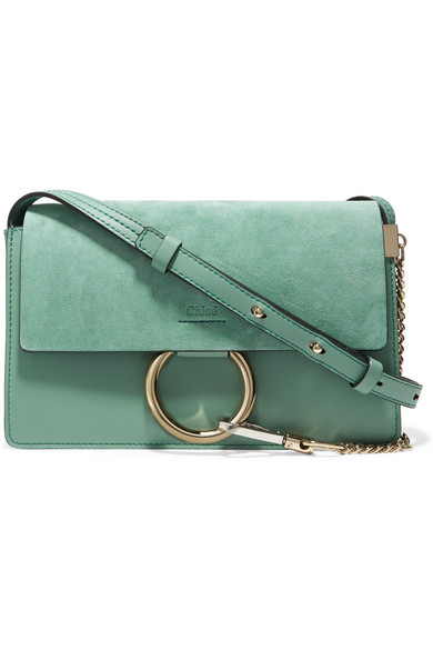Chloé - Faye Small Suede And Leather Shoulder Bag - Mint