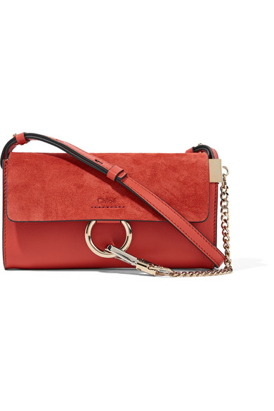 Chloé - Faye Mini Leather And Suede Shoulder Bag - Tomato red