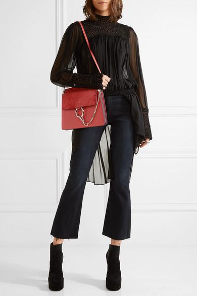 73733c79d0 Faye medium leather and suede shoulder bag