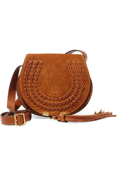 Chloé - Marcie Mini Suede Shoulder Bag - Tan