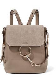Faye medium leather and suede backpack