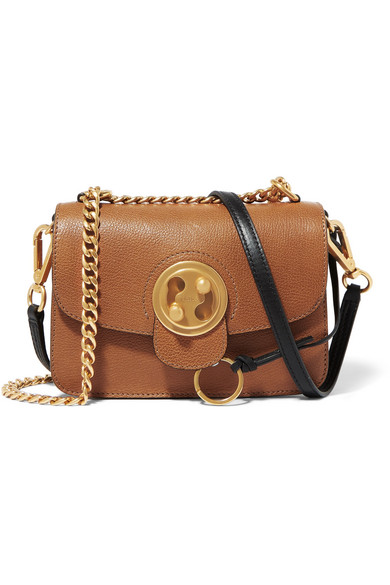 Mily Small Textured-Leather And Suede Shoulder Bag in Brown