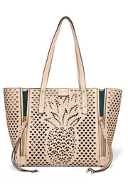 Chloé Milo medium suede-trimmed perforated leather tote