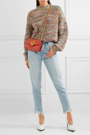Chloé Mily small textured-leather and suede shoulder bag