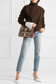 Faye medium leather and suede-trimmed elaphe shoulder bag