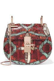 Drew mini suede-trimmed watersnake shoulder bag