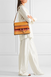 Chloé Faye medium watersnake and suede-paneled leather shoulder bag