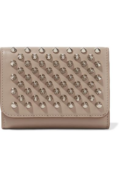 christian louboutin female christian louboutin macaron mini spiked leather wallet beige