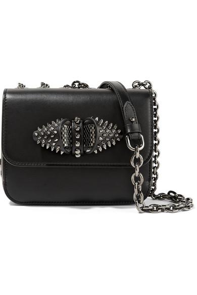 christian louboutin female christian louboutin sweet charity embellished leather shoulder bag black
