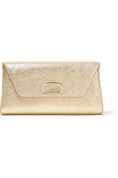christian louboutin female christian louboutin vero dodat metallic texturedleather clutch gold
