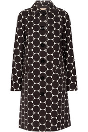 Polka-dot cotton and silk-blend matelassé coat