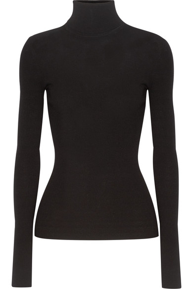michael kors female 188971 michael kors collection ribbedknit turtleneck sweater black