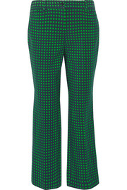 Polka-dot stretch-wool straight-leg pants