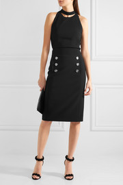 Button-detailed wool-twill pencil skirt