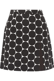 Polka-dot cotton and silk-blend matelassé mini skirt
