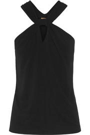 Twist-front stretch-jersey top