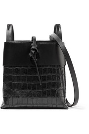 Nano Tie matte and croc-effect patent-leather shoulder bag