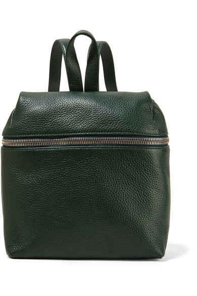 Kara - Small Textured-leather Backpack - Forest green