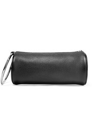Duffel textured-leather clutch