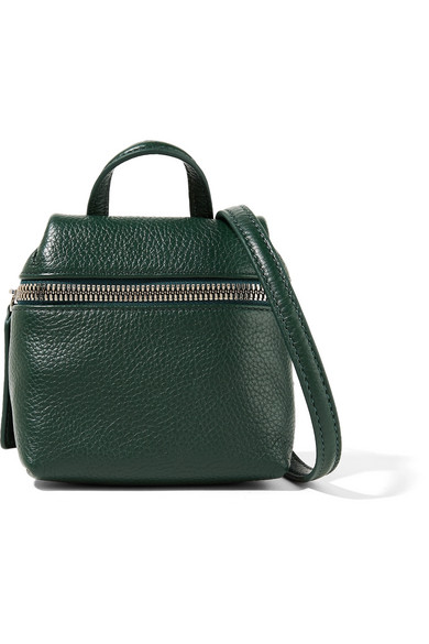 Kara - Micro Textured-leather Shoulder Bag - Forest green