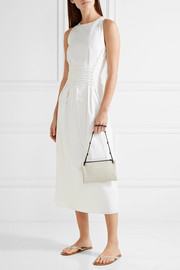 The Row Party Time 7 leather-trimmed raffia shoulder bag
