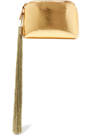 Wristlet mini  tassled metallic ayers clutch