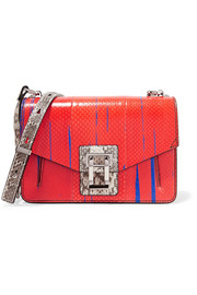 Hava paneled printed ayers and elaphe shoulder bag