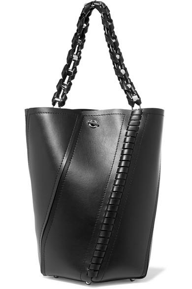 proenza schouler female proenza schouler hex paneled leather tote black