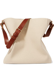 Lanvin New Hobo leather-trimmed cotton-canvas tote