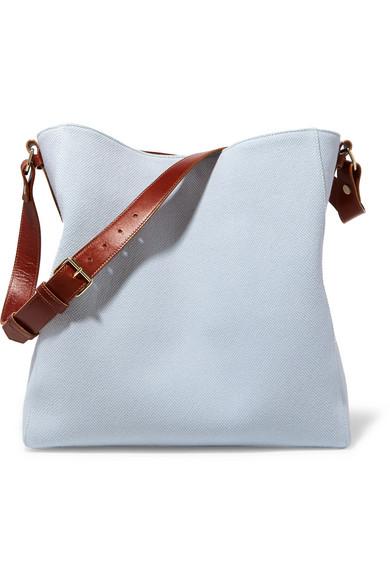 lanvin female lanvin new hobo leathertrimmed cottoncanvas tote sky blue
