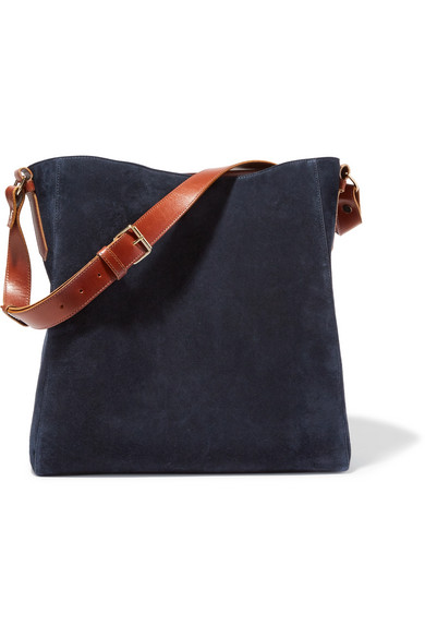 lanvin female lanvin new hobo leathertrimmed suede tote midnight blue