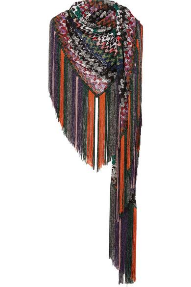 Missoni - Fringed Metallic Crochet-knit Wrap - Purple