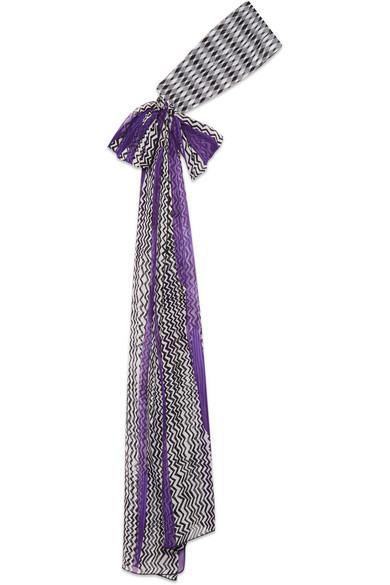 Missoni - Crochet-knit And Printed Silk-chiffon Headband - Purple