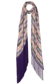 Fringed crochet-knit scarf