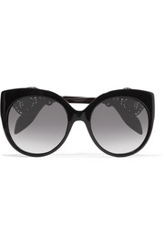 Alexander McQueen Cat-eye filigree-embellished acetate sunglasses