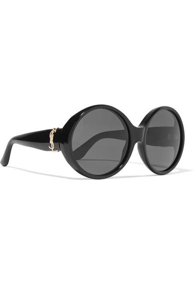9a0f6abbb00 SAINT LAURENT | Oversized round-frame acetate sunglasses | NET-A ...