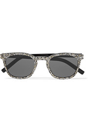Wayfarer-style glittered acetate sunglasses