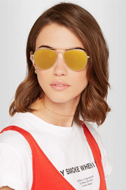 Tomas Maier Aviator-style gold-tone mirrored sunglasses