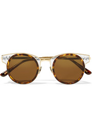Bottega Veneta Round-frame gold-tone and acetate sunglasses