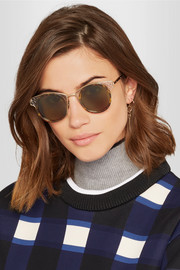 Round-frame gold-tone and acetate sunglasses
