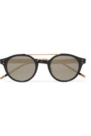 Round-frame metal mirrored sunglasses