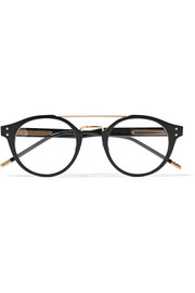 Bottega Veneta Round-frame acetate and gold-tone optical glasses