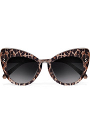Cat-eye leopard-print acetate sunglasses
