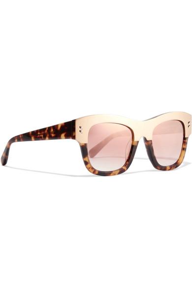 88600e18d576 Stella McCartney. Cat-eye acetate and gold-tone mirrored sunglasses