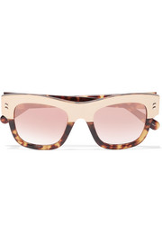 Stella McCartney Cat-eye acetate and gold-tone mirrored sunglasses