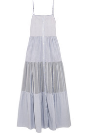 Tiered striped cotton-poplin maxi dress