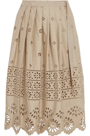 Wrap-effect broderie anglaise cotton skirt