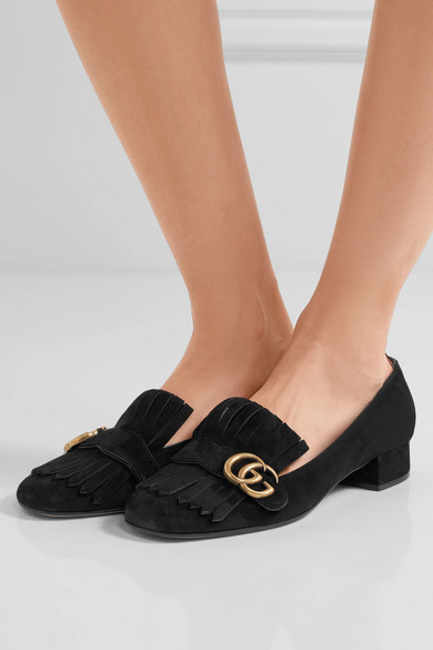 f940d6cfa14 Gucci. Marmont fringed suede loafers